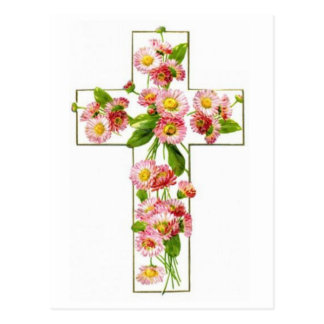 White Cross With Pink Florals Postcard