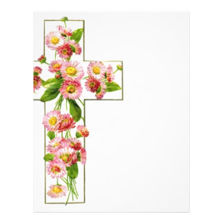 White Cross With Pink Flowers Flyer