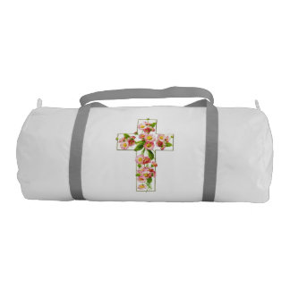 White Cross With Pink Flowers Gym Bag
