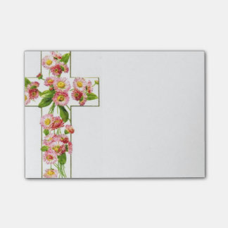 White Cross With Pink Flowers Post-it® Notes