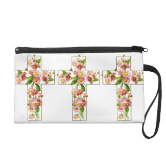 White Cross With Pink Flowers Wristlet
