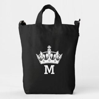 White Crown Monogram Personalized Duck Canvas Bag