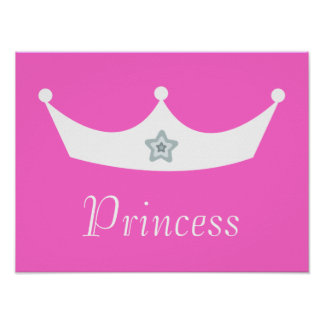 White Crown Pretty Pink Princess Customizable Posters