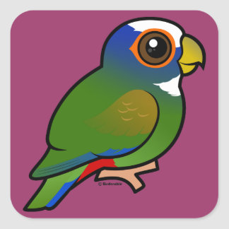 White-crowned Parrot Square Sticker