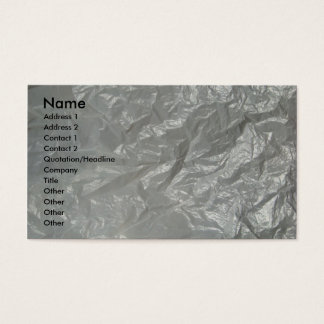 White crumpled plastic business card