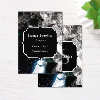 White Crystals in Black outer space Monogram Business Card