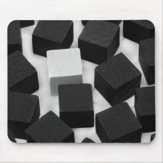 white cube in many black cubes mouse pad