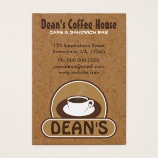 White Cup of Coffee Shop Brown Cafe Large Custom Business Card