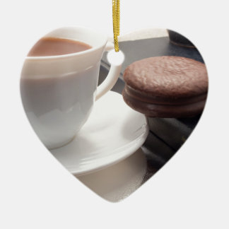 White cup of hot chocolate and cookies ceramic ornament