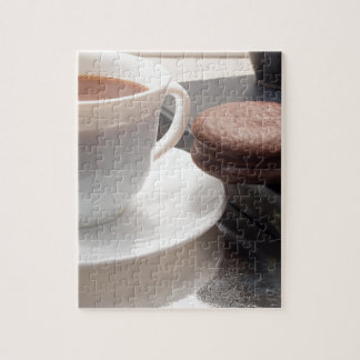 White cup of hot chocolate and cookies jigsaw puzzle