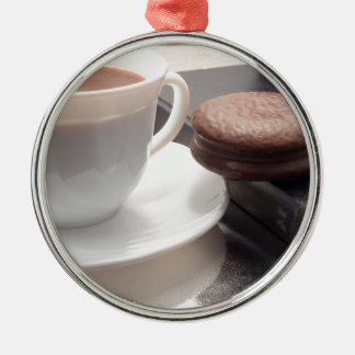 White cup of hot chocolate and cookies metal ornament