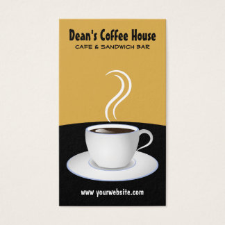 White Cup of Steaming Coffee Black and Beige Cafe Business Card