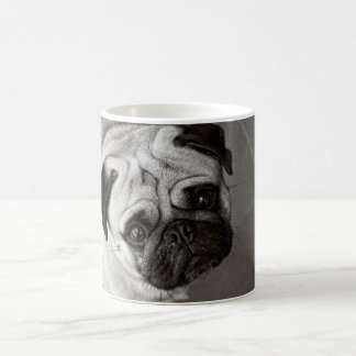 white cup with dog photograph Pug race