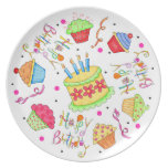 White Cupcakes and Cake Happy Birthday Party Plates