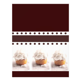 White Cupcakes on Brown Background Business Items Flyer