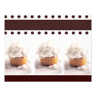 White Cupcakes on Brown Background Business Items Custom Invites