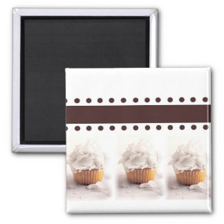 White Cupcakes on Brown Background Business Items Magnet
