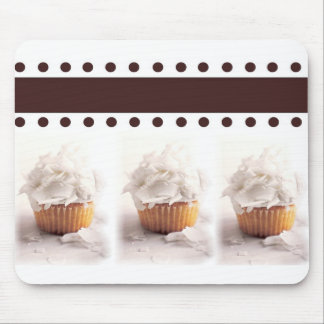 White Cupcakes on Brown Background Business Items Mouse Pad