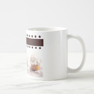 White Cupcakes on Brown Background Business Items Coffee Mugs