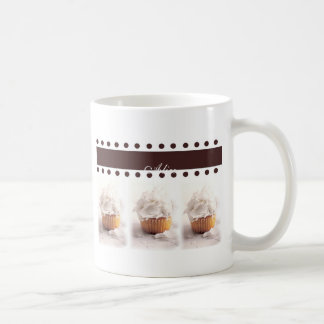 White Cupcakes on Brown Background Business Items Mug