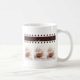 White Cupcakes on Brown Background Business Items Mugs