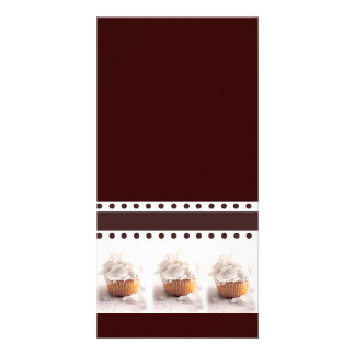White Cupcakes on Brown Background Business Items Photo Greeting Card