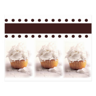 White Cupcakes on Brown Background Business Items Postcard