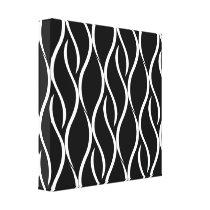 White Curvy Vertical Line Pattern Black Background Canvas Print