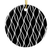 White Curvy Vertical Line Pattern Black Background Ceramic Ornament