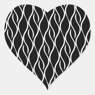White Curvy Vertical Line Pattern Black Background Heart Sticker