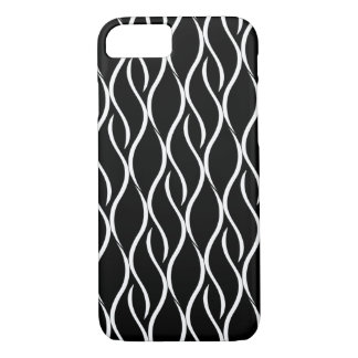 White Curvy Vertical Line Pattern Black Background iPhone 7 Case