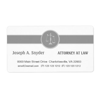 White Custom Background Attorney Legal Business Label
