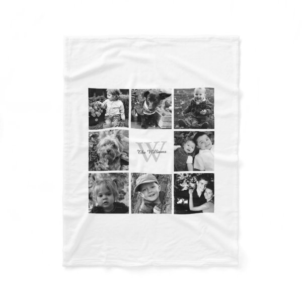 White Custom Family Photo Collage Fleece Blanket
