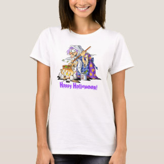 White Custom Happy Halloween Shirts With Witch