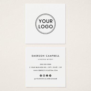 White custom logo social media icons business card