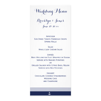 White Custom Nautical Wedding Menu Cards Rack Card Template