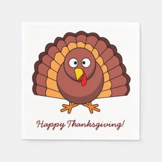 White Custom Thanksgiving Paper Napkins Turkey