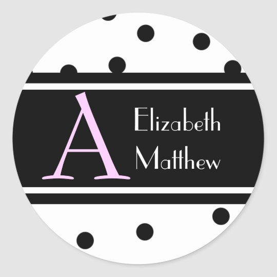 White Customize Last and First Name Sticker