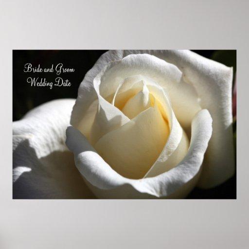 White Cut Rose Wedding Keepsake Print