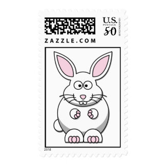 {White} Cute Bunny Postage