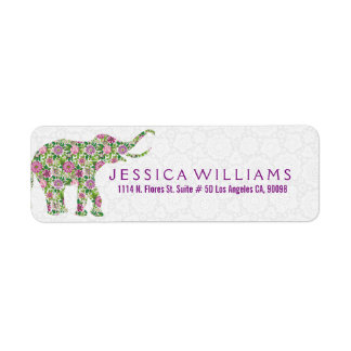 White & Cute Colorful Floral Elephant 2 Label