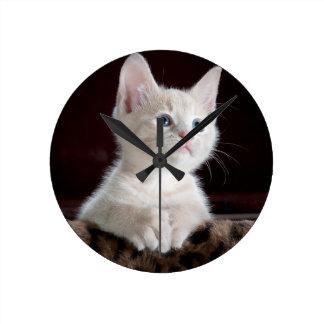 White Cute Kitty Round Wall Clock