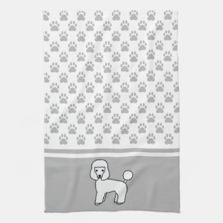 White Cute Toy Poodle Dog And Grey Paws Pattern Kitchen Towel