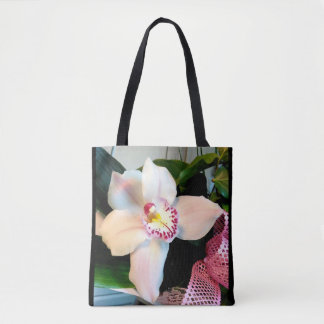 White Cymbidium Orchid Tote Bag