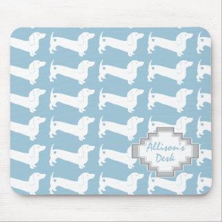White Dachshund Dog Pattern Mouse Pad