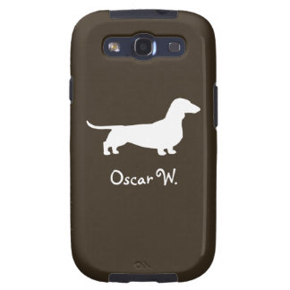 White Dachshund Dog Silhouette with Custom Text Samsung Galaxy S3 Cover
