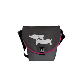 White Dachshund on Gray Background Courier Bags