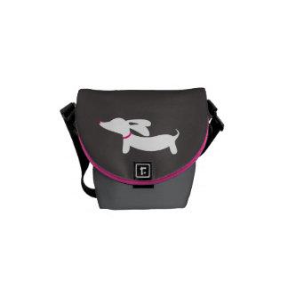 White Dachshund on Gray Background Messenger Bag