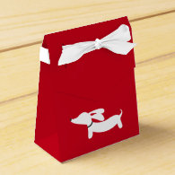 White Dachshund on Red | Love | Valentine's Day Favor Box
