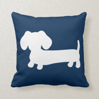 White Dachshund Puppy on Navy Pillow Medium